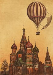 moscow airballoon architecture cathedral travel vintage