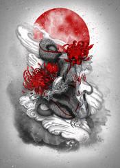 dragon red sun flower japan