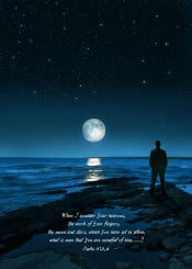 moon night stars sky man beach shore water rocky verse scripture psalm inspiration