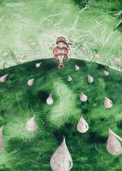 green peasant tale rain cry tears water watercolor girl woman