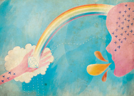 sky cloud rainbow hand face weather rain diamond cloud soft vintage