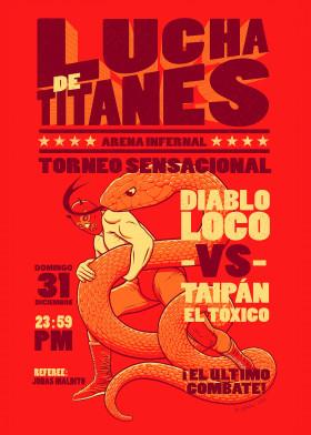 illustration lucha snake lucha libre poster parody