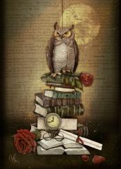 owl books roses clocks
