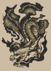 dragon unique animal gold smoke illustration myth