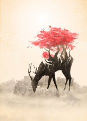 deer wild forest roots trees flowers red flowers red city urban skyline revenge nature
