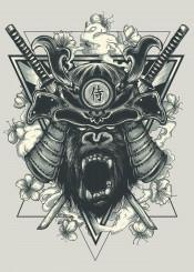 gorilla monkey samurai japanese warrior sword smoke flower geometric unique illustration