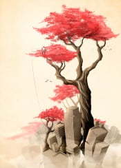 revenge nature memories fishing forest trees roots city in the trees flowers red flowers