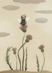 bee flower end of summer thistle melancholy september