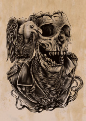 skull animal fungky art design illustration