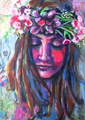 woman portrait flowers hair colorful impressionism