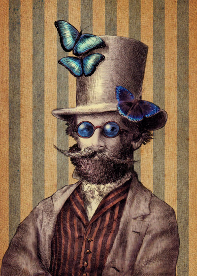 Eric Fan Top Hats and Topiary   Displate Prints on Steel