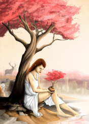 goddess of nature nature forest trees roots flowers red wild nature free wild life skyline woman god