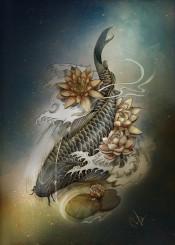 koi lotus blue