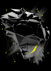 surreal face head 3d mix yellow black future abstract dream transition light tear drop dark modern