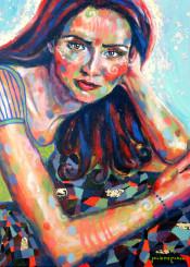 woman portrait figurative colorful impressionism