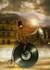 music vinyl victorian bicycle tophat sky gold whimsical gramophone