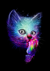 cat trippy colors animals icecream psychedelic humor funny