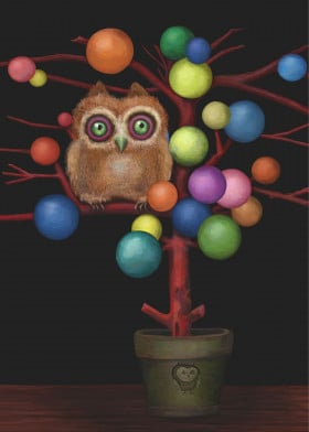 owl tree colorful cute quirky animal funny