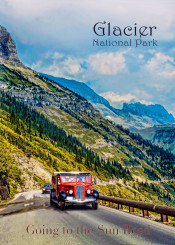 glacier national park going to the sun road jammer red bus road mountains travel trip vacation