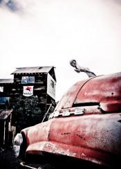 ram truck hood ornament emblem gas mobile vintage barn abandoned