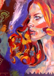 woman portrait redhead profile colorful impressionism abstract