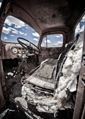 abandoned classic truck vintage industrial sky clouds