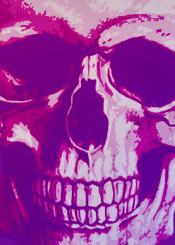 scull purple halloween horror seasonal poster metal print pop art