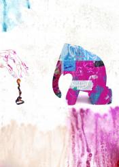mixedmedia pop surreal skull stilllife hand space painting elevation
