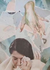 marina cry sad blue cream hand collage