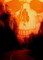 scull poster forest halloween sepia eery horror vintage sunset trees