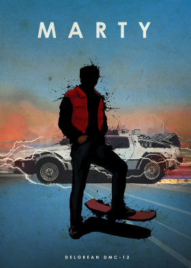 Marty McFly and DeLorean Metal Poster
