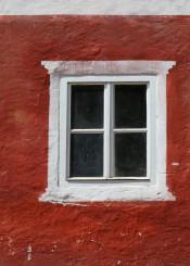 red white window austria halstatt architecture europe