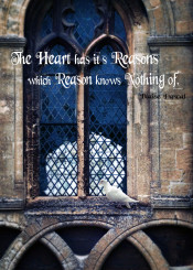 window leaded glass church cathedral dove perched blaise pascal quote inspirational inspiration