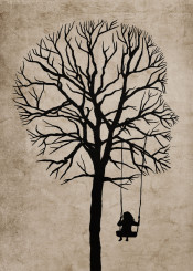 silhouettes girl illustration surrealism tree