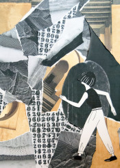 girl collage composition gilr black white grey white mustard vintage
