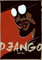 django unchained fox tarantino movie poster design retro alternative graphic