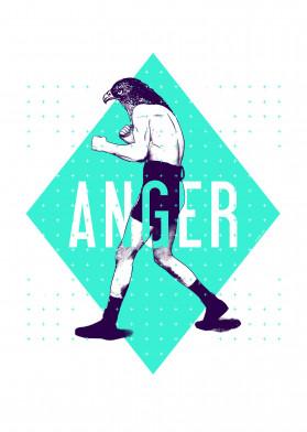 boxer boxing anger graphic vintage bird chimera