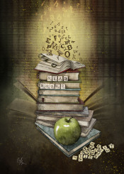 books letters apple read