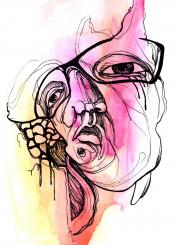 illustration portrait draw watercolor head lines graphic