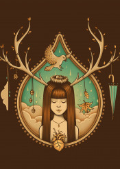 girl fall leaves antlers bird