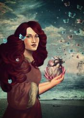 love surreal girl heart butterfly sea