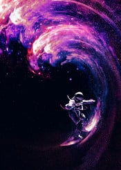 space surfing wave astronaut surf colors space stars galaxy