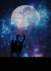 boy girl space moon