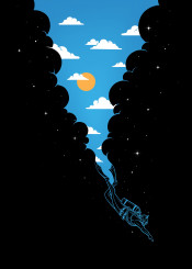 skydiver scubadiver sky clouds sun stars