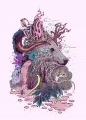 bea forest woodlan magic nature colourful pink pop surreal drawing ink tattoo detail