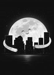 moon carbine stars hug night skyscrapers landscape