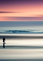 seascape abstracion mood motion blur romantic wave ocean silhouettes reflections evening horizon sky