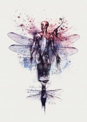 man anatomy brush watercolor butterfly