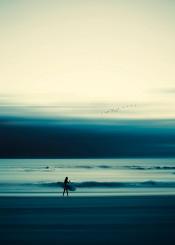 seascape abstraction mood motionblur surf surfer waves summer horizon smooth beach green yellow