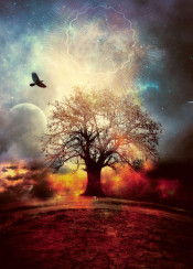dream lanscape space sacred geometry smoke sky space planet moon bird fly tree alone stars surreal